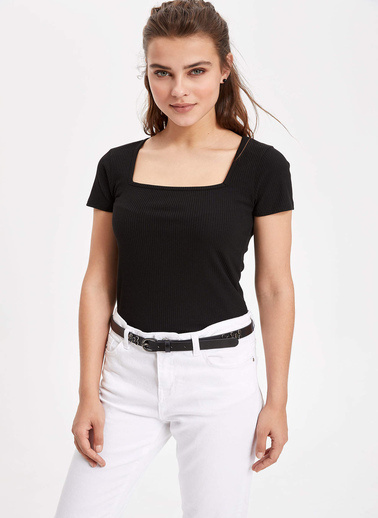 DeFacto U Yaka Kısa Kollu Basic T-shirt Siyah